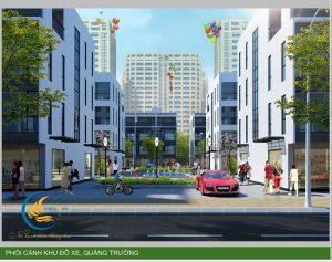 Phối cảnh khu đỗ xe, quảng trường tại HDB Thanh Trì