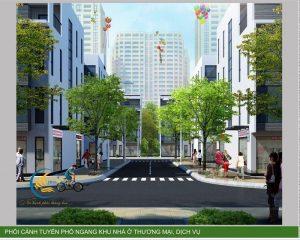 Phối cảnh tuyến phố ngang trong liền kề HDB Thanh Trì