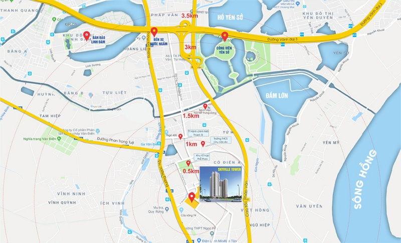 vị trí dự án Teco Sky Ville Tower